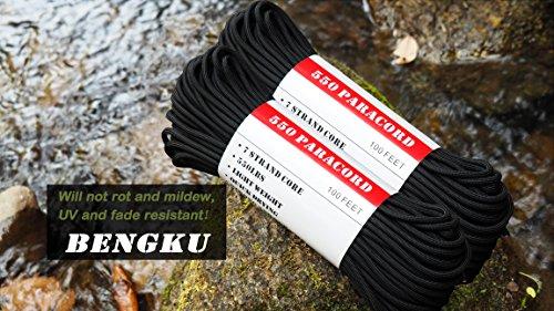 BENGKU Outdoor Survival Mil-SPEC 550lb Paracord/Parachute Cord(MIl-C-5040-H),100Feet,100% Nylon. (Black & Orange, 200.00) by BENGKU (Image #2)