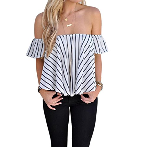 FAPIZI ♥ Women Blouse ♥Women Off Shoulder Stripe Casual Blouse Shirt Tops (S, White)