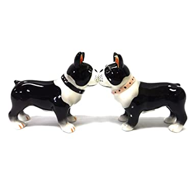 Salt & Pepper Shakers - Boston Terrier Pups Magnetic Salt And Pepper Shakers