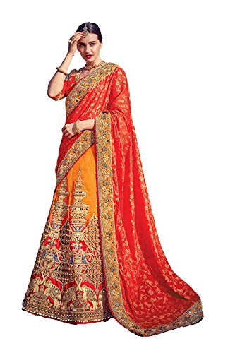 IWS Womens Red Striking Lehenga Choli With Beads Work 79626