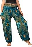 Cheap Lofbaz Women's Smocked Waist Diamond Yoga Harem Pants Teal Green M