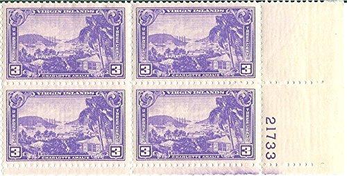 Island Plate Block (1937 USA Plate Block 3 Cents Virgin Islands Postage Stamp Scott #802)