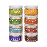 World Spice Variety Pack: Curry, Chipotle, Mexican, French, Mediterranean, American, Greek & Italian Seasoning - Cook around the World w/Vegan, No MSG Seasoning (8 pack)