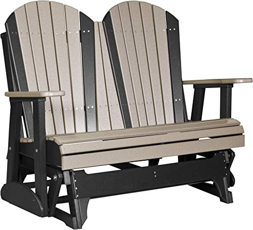 - LuxCraft Poly Recycled Plastic 4' Adirondack Glider Chair, 2 Person Glider Bench - Weatherwood on Black