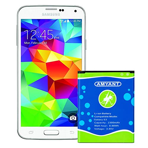 Galaxy S3 Battery 2300mAh Amyant S3 I9300 Batteries Replacement for Samsung Galaxy S3 EB-L1G6LLU,I9305 LTE, Verizon I535, T-Mobile T999, Sprint L710, AT&T I747, R530, LTE I9305 [24 Month Warranty]