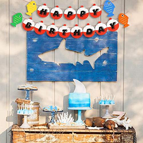 Yaaaaasss Fishing Happy Birthday Bobber Banner Little Fisherman Kids Party Deco