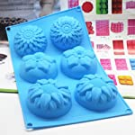 Pieces 6 Cavity Silicone Flower Soap Mold Chrysanthemum Sunflower Mixed Flower shapesCupcake Backing mold Muffin pan Handmade soap silicone Moulds 12 Dimensions:28*16.5*3CM Cavity Size:7.5*3cmNon-stick&Flexible: Pop out easily with smooth surface. Temperature Safe from -104 to +446 degrees Fahrenheit (-40 to +230 degrees Celsius) Safe use in Microwave, Oven, Refrigerator, Freezer and Dishwasher . 3 Different 3D Flower Pattern- can be used to make cupcakes, muffins, mini cakes, cake pops, cookies, lollipops, chocolates, breads, mini quiches and potpies, pudding and more! You can even use them as a tray to make uniquely shaped soap or ice.