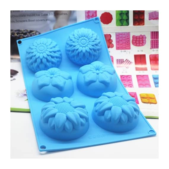 Pieces 6 Cavity Silicone Flower Soap Mold Chrysanthemum Sunflower Mixed Flower shapesCupcake Backing mold Muffin pan Handmade soap silicone Moulds 5 Dimensions:28*16.5*3CM Cavity Size:7.5*3cmNon-stick&Flexible: Pop out easily with smooth surface. Temperature Safe from -104 to +446 degrees Fahrenheit (-40 to +230 degrees Celsius) Safe use in Microwave, Oven, Refrigerator, Freezer and Dishwasher . 3 Different 3D Flower Pattern- can be used to make cupcakes, muffins, mini cakes, cake pops, cookies, lollipops, chocolates, breads, mini quiches and potpies, pudding and more! You can even use them as a tray to make uniquely shaped soap or ice.