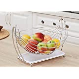 Hammock Fruit Basket Stand, Hanging Fruit Storage, Display Basket, Countertop Organizer for Home Kitchen, Vegetable Metal Basket Rack, Decorative Design Fruit Bowl Stand with Drip Tray, White