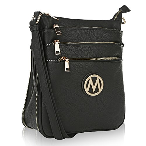 MKF Crossbody Bags for women - Adjustable Strap - Vegan Leather - Crossover Side Messenger Womens Purse Black
