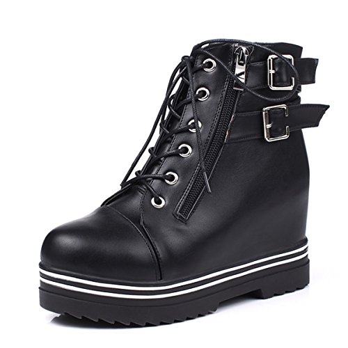 YE Women's Wedge High Heel Thick Sole Platform Patent Leather Lace up Ankle Short Boots with Buckles Autumn Winter Comfortable Fashion Shoes Black(pu Leder) Dyrq6ra