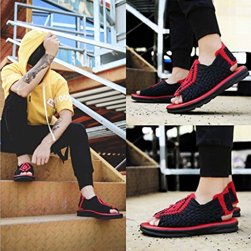 HETAO Hand-Woven Sandals, Summer Men Thick Bottom Non-Slip Beach Outdoor Casual Sandals Black