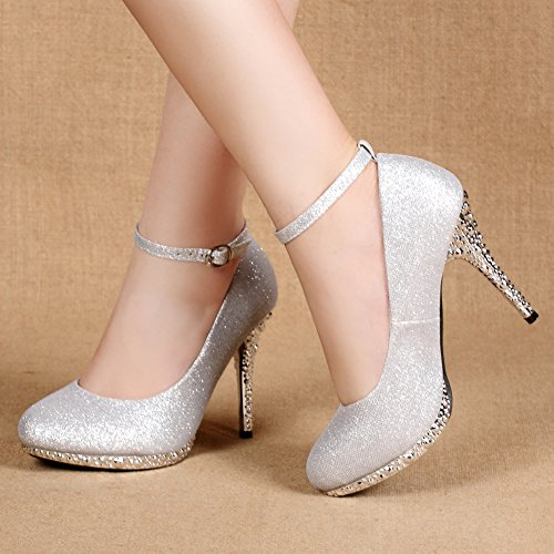 Toes Women's Glitter Closed Wedding Shoes Strappy Dress Silver Getmorebeauty Sequins X5dHwgqxX