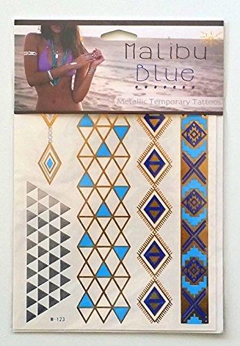 Penelope par Malibu Blue - Tatouages qui ressemble Bijoux: total des deux feuilles 16 tatouages mignons dans tout! Poignets Manches trois collier de chaîne Bracelets de cheville Toe anneau tatouages - Mélange de métal est dans. Metallic Gold et Silv