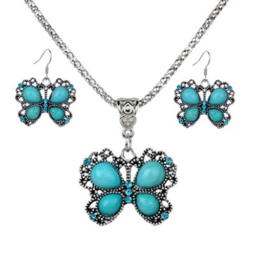 AKOAK Butterfly Style Ethnic Necklace Earrings Set - Tibetan Silver Oval Rimous Turquoise Crystal Drop Dangle Earrings and Necklace for Women Girls - Necklace Set Oval And Earring