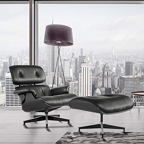 Lounge Chair and Ottoman, Mid Century Modern Classic Design, Natural Leather, High-Density Wood (Black Ash,Normal 1)