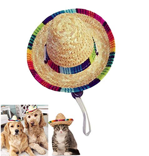 ChicPet Small Cute Handcrafted Woven Straw Sombrero Pet Hat Mexican Hat for Cat Dog Puppy Colorful Trim Adjustable Elastic Cord