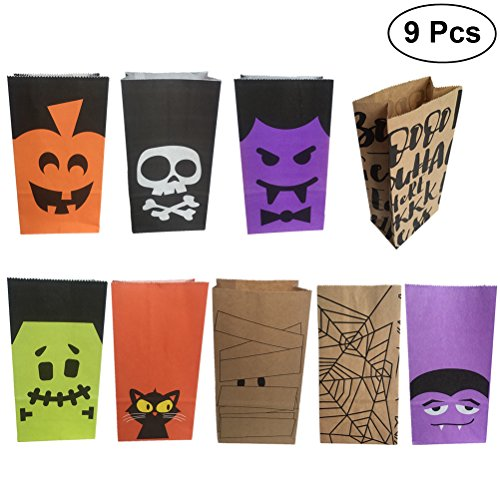 9pcs Halloween Candies Gift Goody Bags Party Favors Paper Bags for Kids (Assorted Patterns)]()