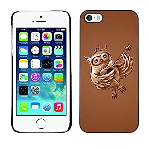 LECELL -- Funda protectora / Cubierta / Piel For Apple iPhone 5 / 5S -- Funny Guitar Owl --
