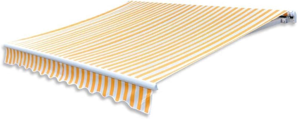 Tidyard Toldo de Lona Tapa de Reemplazo Toldos Exterior Parte Superior para Patio Terraza Jardín Ultravioleta Amarillo y Blanco 3X2,5M(Marco del Toldo no Incluido): Amazon.es: Hogar