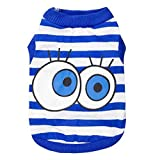 Cheap DroolingDog Dog Shirts Striped Vest Cute Eyes Puppy Clothes for Small Dogs Boy, Small, Blue