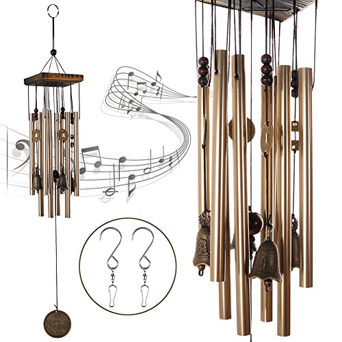 Bell Garden Bronze (HankRobot Wind Chime Bronze Mental Music Chimes 8 Tubes 4 Bells 5 Chinese Traditional Copper Coins 2 S Hooks Pure Handmade Wind Chimes Indoor Outdoor for Home and Garden(Long 26.4inch))