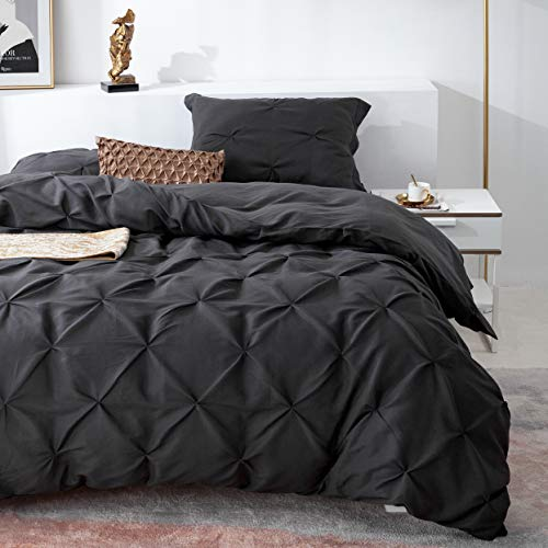 PY HOME /& SPORTS Pinch Pleat Duvet Cover Twin 2 Piece Pintuck Duvet Cover Grey Button Closure with 1 Pillow Shams Twin, Grey