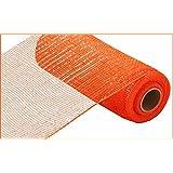 10 inch x 30 feet Deco Poly Mesh Ribbon - Orange with Orange Foil