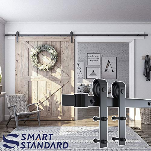 "SMARTSTANDARD 12ft Heavy Duty Sturdy Sliding Barn Door Hardware Kit - Smoothly and Quietly - Easy to Install - Includes Step-by-Step Installation Instruction Fit 72"" Wide Door Panel(J Shape Hanger)"