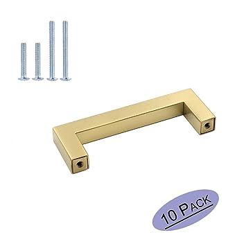 Cepillado latón armario cajón pomos para muebles armario de cocina tirador de puerta de oro de hardware – goldenwarm lsj12gd cuadrado armario ...