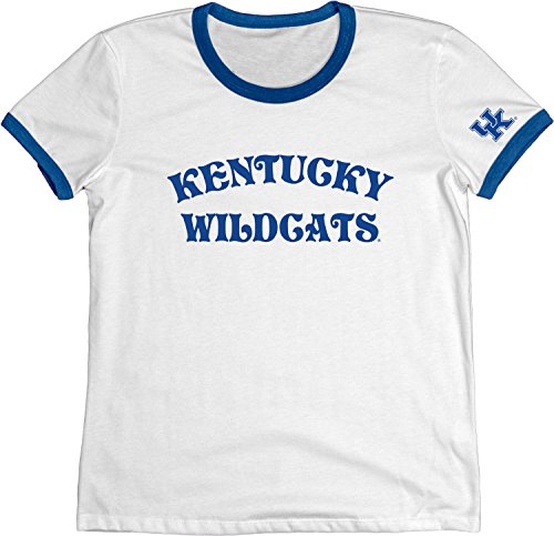 (Blue 84 NCAA Kentucky Wildcats Adult Women NCAA Women's Vintage Supima Ringer Tee,x Large,Royal )