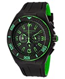 Technomarine Tm-115057 Men's Cruise Night Vision Chrono Black And Green Silicone Black Dial Watch