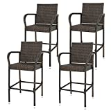 HomGarden Set of 4 Rattan Wicker Bar Stool Outdoor Backyard Barstool Chair Patio Furniture Bar Chair Set with Armrest