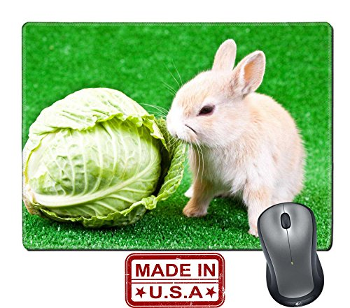 "929 Dining Set (Liili Natural Rubber Mouse Pad/Mat with Stitched Edges 9.8"" x 7.9"" cute domestic bunny eating green cabbage IMAGE ID 6667417)"