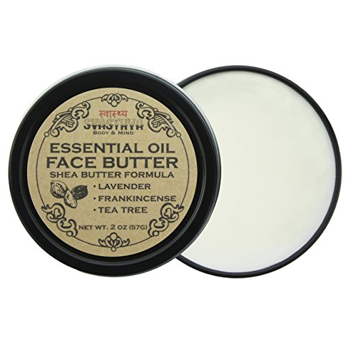 Svasthya Essential Oils Face Butter, with Lavender, Frankincense, and Tea Tree Oil, For Irresistibly Soft, Smooth, Clear Skin 100 Natural, Non GMO, Cruelty Free Pack of 3
