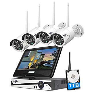 "[8CH Expandable] Hiseeu All in one with 10.1"" Monitor Wireless Security Camera System,8ch Wireless Home Security Camera System,4pcs 1080P Indoor/Outdoor Security Camera,Remote View,1TB Hard Drive"