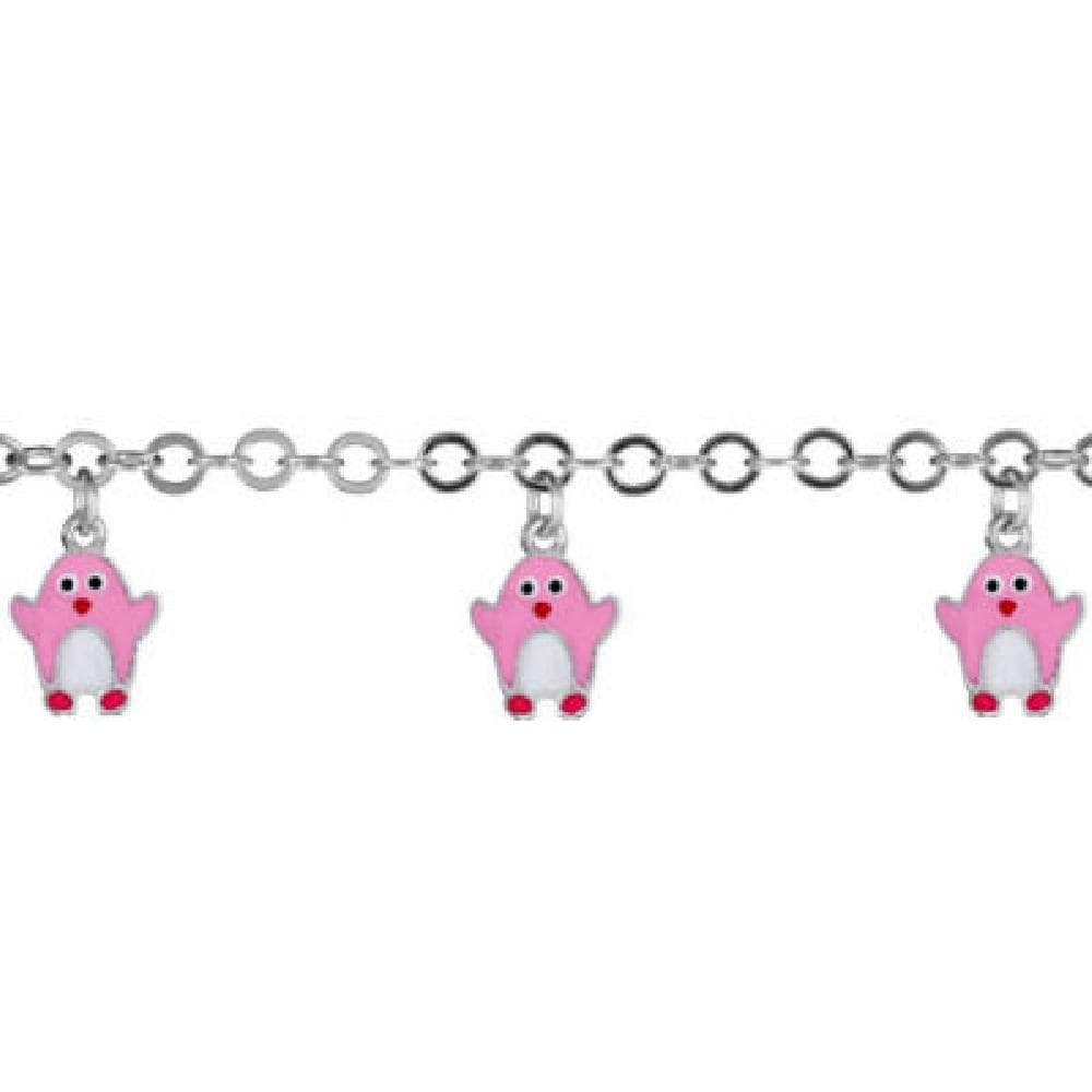 So Chic Jewels Child 925 Sterling Silver 14 2 cm Pink Penguin Drop Bead Chain Bracelet