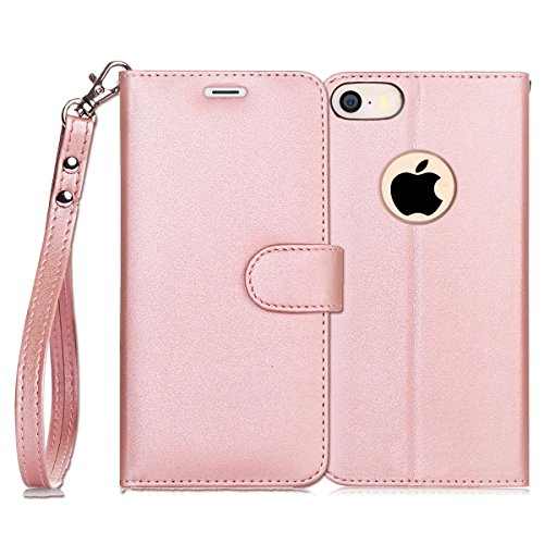 FYY Case for iPhone SE/iPhone 5S Case, [Kickstand Feature] Flip Folio Leather Wallet Case with ID and Credit Card Pockets for Apple iPhone/5S/5/5C Mistyrose