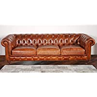 Pasargad Carpets Chester Bay Genuine Leather Tufted Sofa, 3 2 x 8