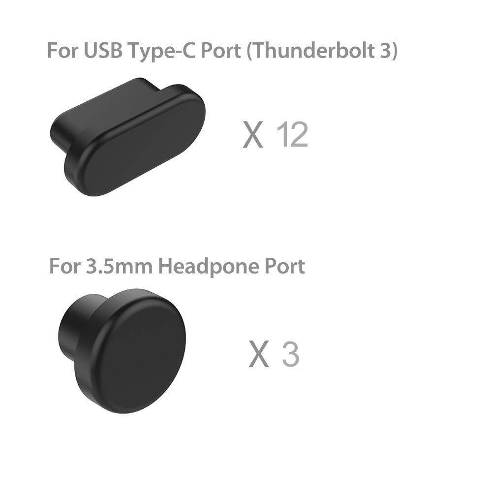 3 Piezas de Conectores de Puerto de Auriculares de 3,5 mm de Silicona Anti Polvo y Suciedad para Apple MacBook Air 13 KOSTOO 12 Piezas de Conectores de Puerto USB-C 12 con Retina Pro 13 15