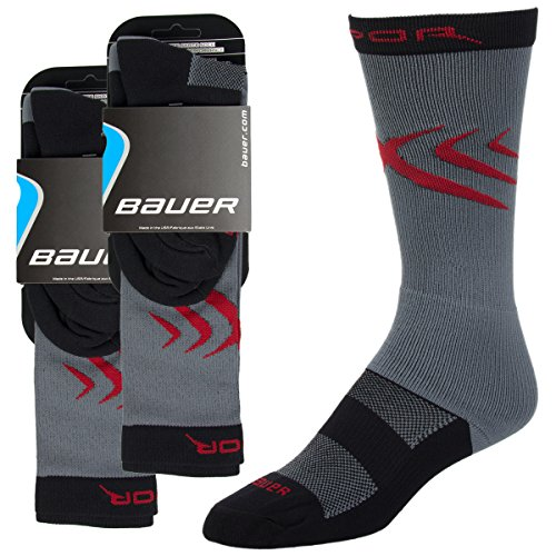 2 Pair Youth Shoe 9-11 Bauer Boys Protective Ice Hockey Skate Socks Breathable Gray Kids Performance