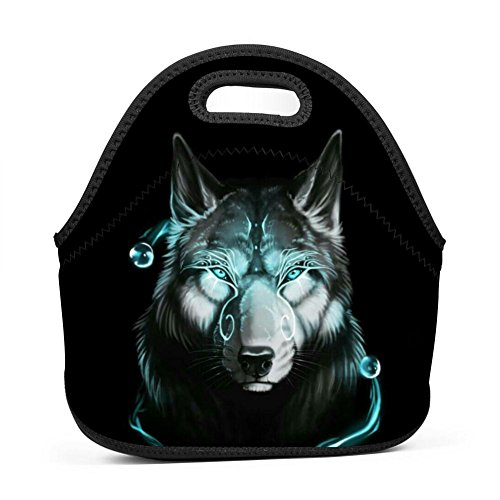 Wolf Tribal Chief Lunch Bag Multi-Purpose Bento Pouch Student Worker Travel Mummy Lunchbox Portable Satchel Baby Bag Handbag by SeBto