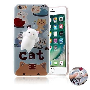 Funda iPhone 6/6s ,Haobuy Cute Squishy 3D Gato Slow Rising Squeeze Cat TPU Carcasa Case Cover para Apple iPhone 6/6s 4.7inch [Azul Gato]