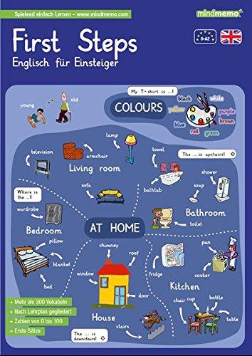 mindmemo Lernfolder - First Steps - Englisch für Einsteiger - Vokabeln lernen mit Bildern - Zusammenfassung: genial-einfache Lernhilfe - ... - Din A4 6-seiter + selbstklebender Abhefter