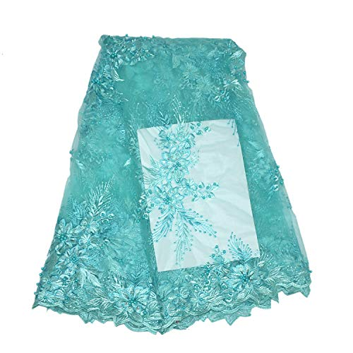 LaceQiao 5 Yards Embroidery mesh Tulle Lace Fabric 5yards Flower Pattern Beaded African Lace Fabrics Wholesale for Wedding Party ()