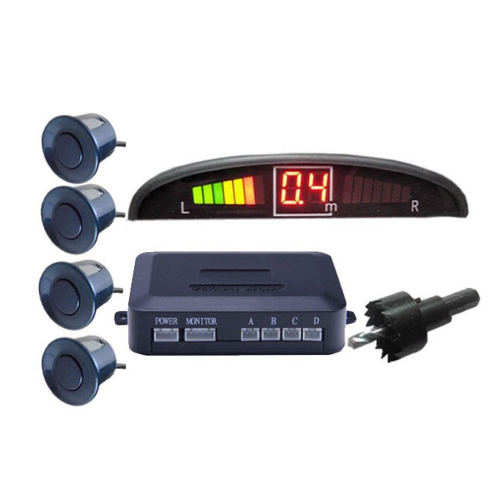 KKmoon Car Parking Radar Monitor Detector System LED With 4 Sensors Crescent Buzzing Parking Distance Control Backlight Display Auto Parktronic Reverse Sensor Probe Black