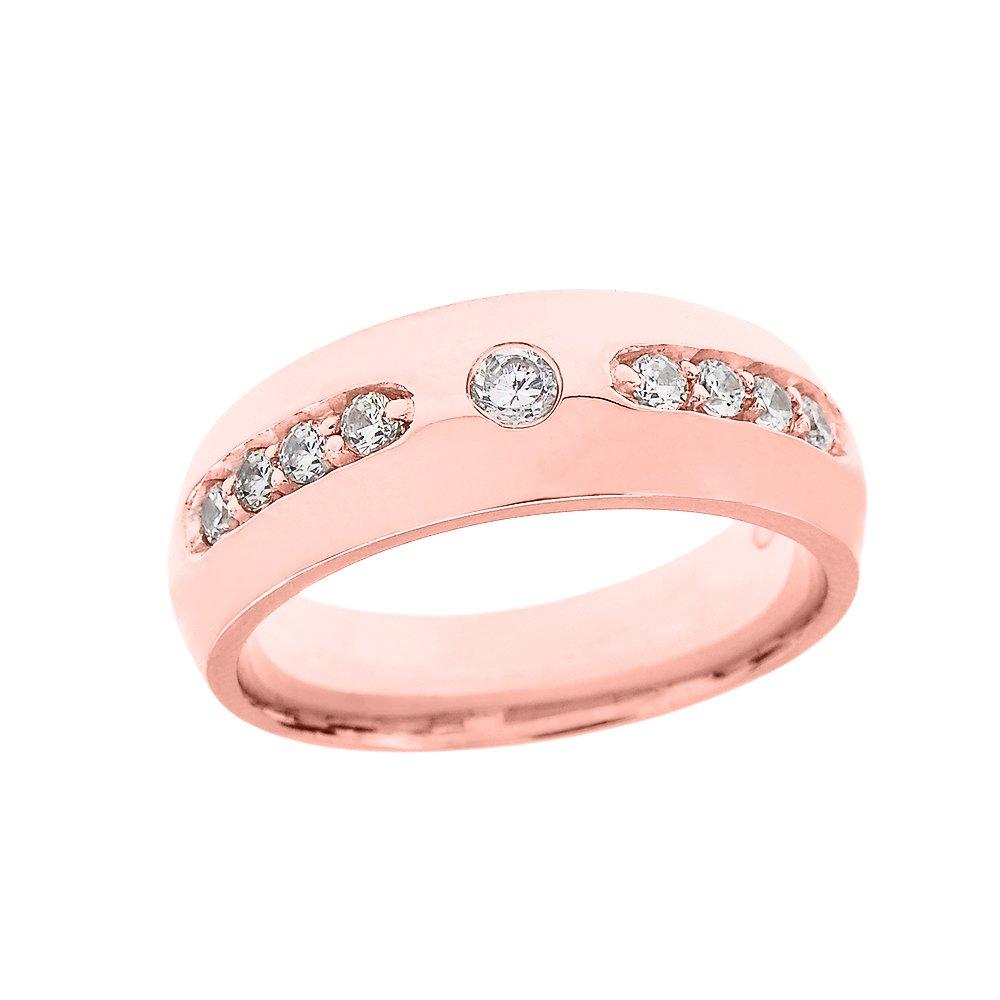 Men\'s 10k Rose Gold Diamond Comfort Fit Wedding Band Ring Amazon.com