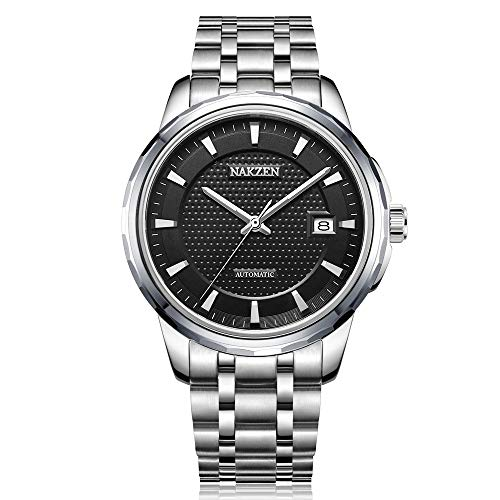 - NAKZEN Men Automatic Japan NH35 Mechanical Movement Watch with Luminous 50M Waterproof Sapphire Glass Crystal Stainless Steel Strap Date Wristwatch (Black)
