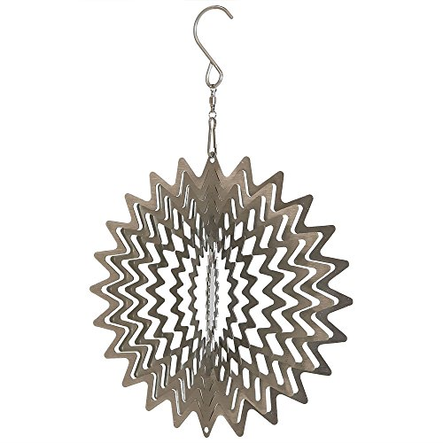 Sunnydaze Garden 3D Wind Spinner Outdoor with Hook, Whirligig Silver Star, 6 Inch - Metal Whirligigs