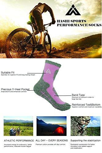 HASHI Mens 5 Pair Multi Performance Hiking Trekking Camping Outdoor Crew Socks